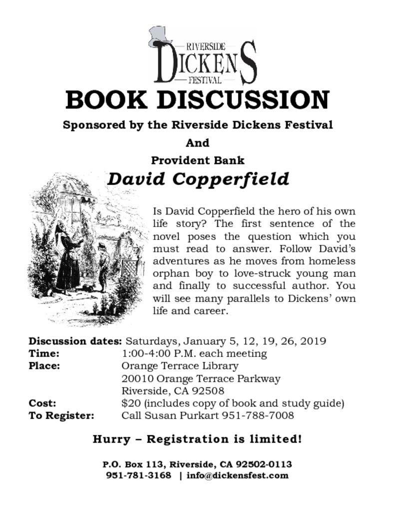 Educational Outreach – Riverside Dickens Festival